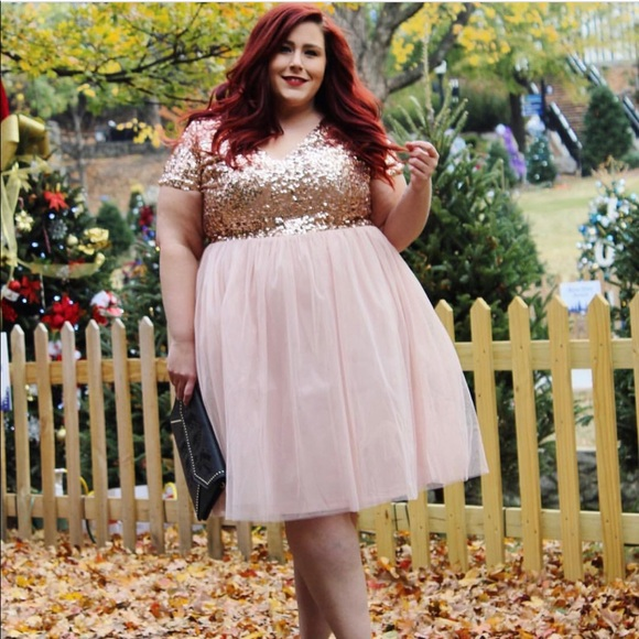 Plus size sequin and tulle dress